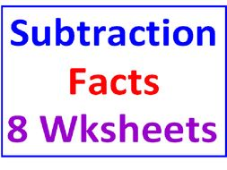 Subtraction Facts Practice Sheets (8 worksheets)