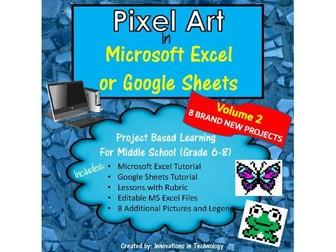 Pixel Art in Microsoft Excel or Google Sheets - Volume 2