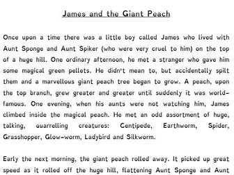 James And The Giant Peach Short Story (Text) A Journey Tale