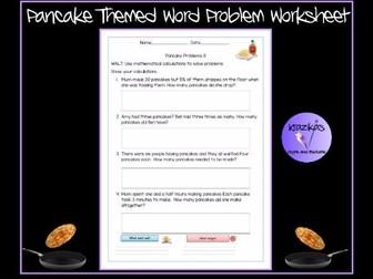 Pancake Themed Word Problem Worksheet