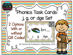 Phonemic Awareness Task Cards: j, g, and dge set