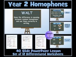 Homophones: Year 2 - PowerPoint Lesson and  Worksheets