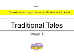 Year 1 - This presentation includes 5 whole lessons relating to Traditional Tales. Week 1 of 2.