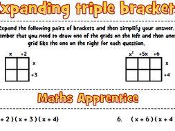 Expanding triple brackets worksheet
