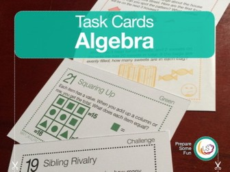Algebra Problems | Task Cards | 24 Questions 4 Differentiations 96 Cards