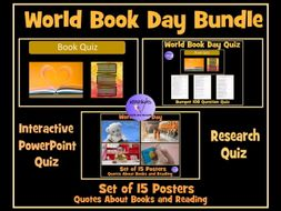 World Book Day: Bumper 100 Question PowerPoint Quiz, 108 Question Research Quiz and 15 Book Quote Posters