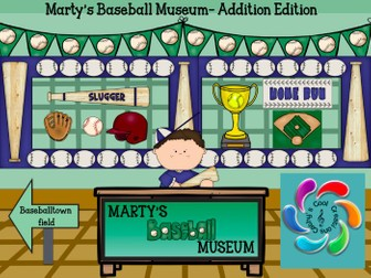 Marty's Baseball Museum- Addition Edition-  Interactive Math Games