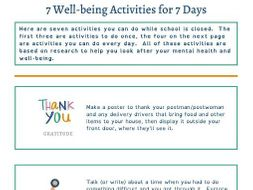 Coronavirus - 7 wellbeing activities for 7 days (KS2)