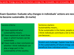 Geography Lesson- Sustainability in the home-Resource management- Energy