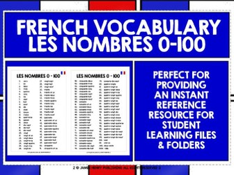 FRENCH NUMBERS 0-100 REFERENCE LIST