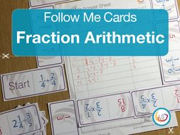 Fractions Arithmetic Follow Me Cards - A game for revising working with fractions