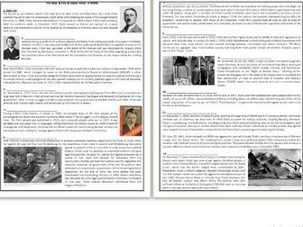 The Rise & Fall of Adolf Hitler in WWII -  Reading Comprehension Worksheet / Text