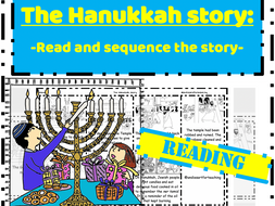 The Hanukkah Story reading task - Read & Sequence cut and paste