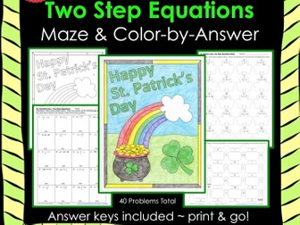 Solving Equations Two Step Equations Maze  Color by Answer Bundle