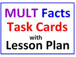 Multiplication Facts Task Cards with Lesson Plan (30 Cards)