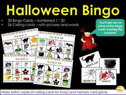 Halloween Bingo! Snap! and Memory Card Games - 30 Bingo Cards and 36 Calling Cards