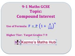 9-1 Maths GCSE Exam Topics: Target 7-9  :  Compound Interest Formula
