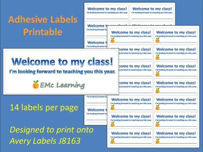 image relating to Printable Sticky Labels referred to as Fresh Phrase Welcome Adhesive Labels Printable J8163 Sticky Labels