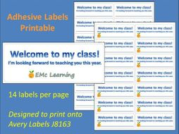 New Term Welcome Adhesive Labels Printable  J8163 Sticky Labels