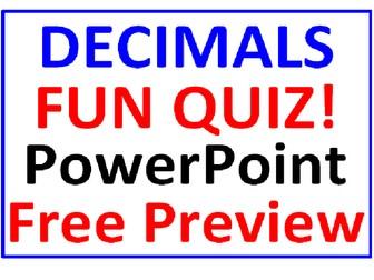 Decimals PowerPoint Fun Quiz FREE PREVIEW