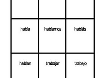 AR Verbs in Spanish Verbos AR Present tense Spoons game / Uno game