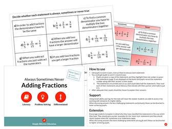 Adding Fractions (Always, Sometimes, Never)