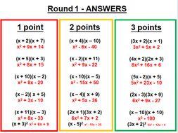 Quadratics competition (expanding, factorising, completing the square, solving)