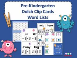 Dolch Sight Words Pre Kindergarten Clip / Clothespin Cards - Monster Theme