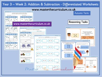 Year 3- Week 2 - Addition and subtraction Differentiated Worksheets -Block 2 - White Rose Style