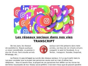 Les réseaux sociaux / social media - French Listening Lesson and Transcript
