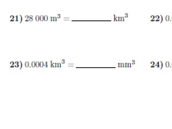 Converting metric units of volume worksheet(with answers)