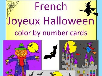 French Happy Halloween color by number cards - Joyeux Halloween