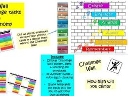 Challenge Wall - Challenges and extension activities based on Blooms. Suitable for all subjects