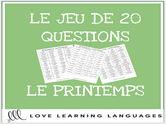 Le Printemps - French 20 Questions Game for Spring