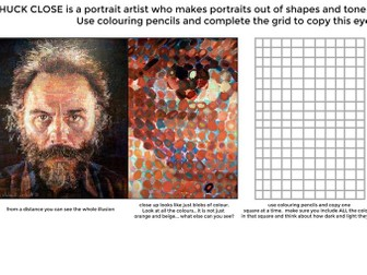 Chuck Close cover lesson worksheet