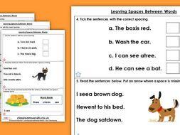 Grammar Year 1 Leaving Spaces Between Words Autumn Block 1 Homework Extension