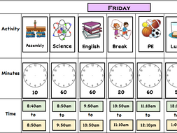 Autism friendly activity timetable