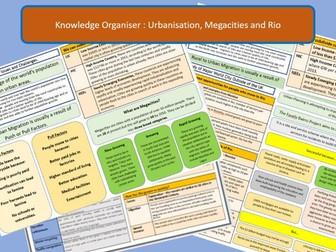 AQA GCSE 9-1 Urbanisation, Megacities and Rio Case Study Knowledge Organiser and Revision Summaries.