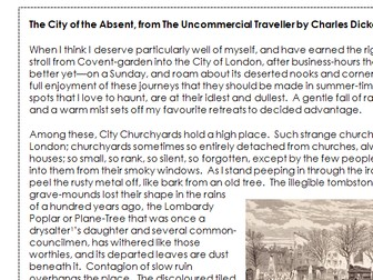 English Language GCSE Paper 2 - 19th Century Non-Fiction - The City of the Absent by Dickens
