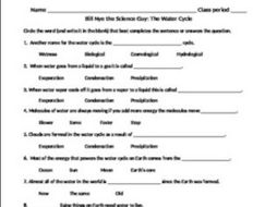 Bill Nye: The Water Cycle video sheet
