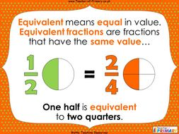 Equivalence of One Half and Two Quarters - Year 2 | Teaching Resources