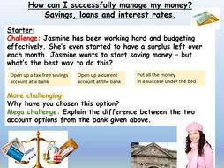 Bank accounts, savings and loans