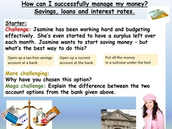 Bank accounts, savings and loans