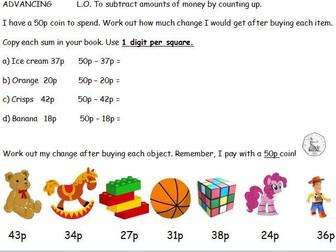 Maths - Money - Finding Change KS1 KS2 Addition subtraction