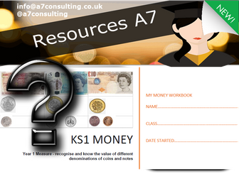 Year 1 Maths 18 Page worksheet - Money, denomination, add, subtract, with pictures