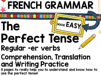 French Grammar Booklet: Perfect Tense regular -er verbs
