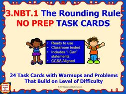 3.NBT.1 Math 3rd Grade NO PREP Task Cards—ROUNDING RULE PRINTABLES