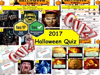 2017 - Halloween Spooky Quiz (Fiction, Literacy) - 7 rounds and  40+Qs' .Autumn- End of term Quiz
