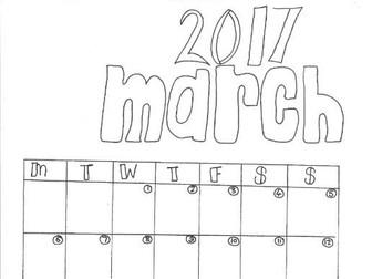 March Calendar Organiser and Colouring Sheet