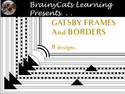 """GATSBY INSPIRED"" Black and White Page Borders and Frames Clipart"